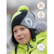 Зимняя шапка цвет салатовый/серый, ТМ Артель