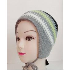 Зимняя шапка цвет серый/салатовый, ТМ Артель