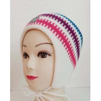Зимняя шапка цвет, белый/бирюзовый, ТМ Артель