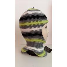 Зимний шлем-шапка серый/салатовый Артель