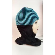 Зимний шлем-шапка ,бирюзовый/чёрный Артель