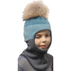 """Зимний шлем-шапка  """"Сион"""" цвет лазурный/т.серый"""