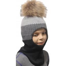 "Зимний шлем-шапка  ""Сион"" цвет серый/т.серый"